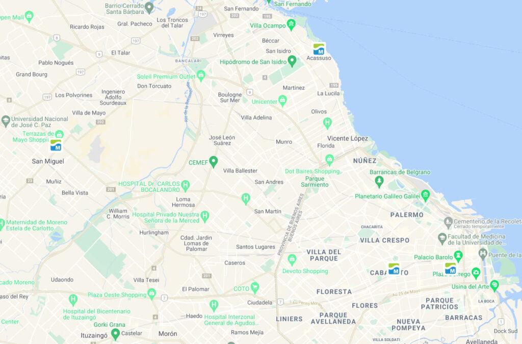mapa sedes argentina
