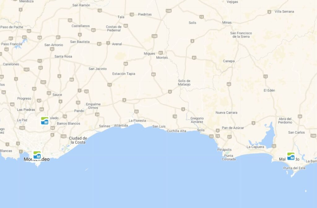 mapa sedes uruguay